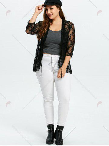 Latest Plus Size Drawstring Asymmetric Lace Jacket - 5XL BLACK Mobile