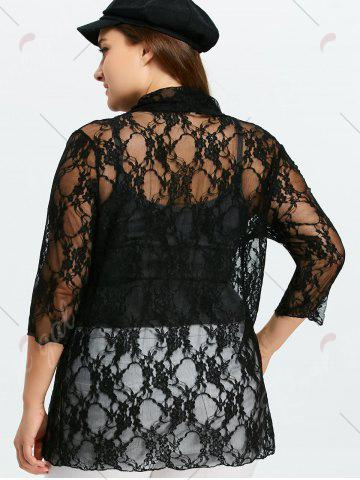Fashion Plus Size Drawstring Asymmetric Lace Jacket - 5XL BLACK Mobile