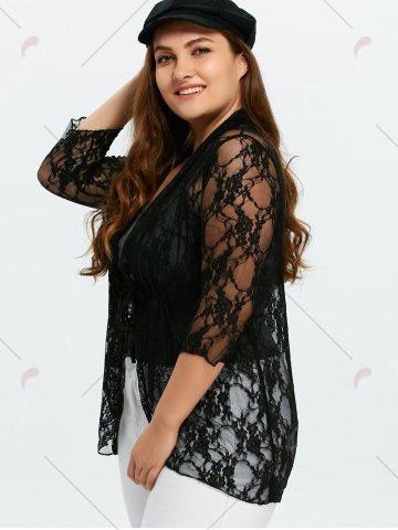 Unique Plus Size Drawstring Asymmetric Lace Jacket - 5XL BLACK Mobile