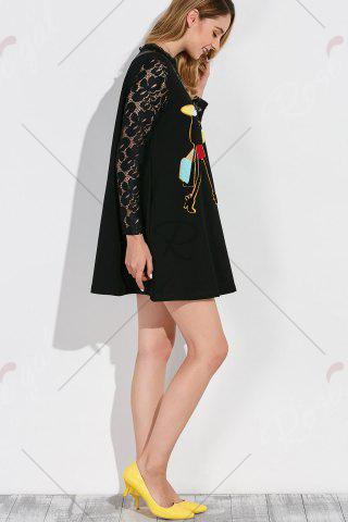 Sale Patched Mini Swing Dress - XL BLACK Mobile