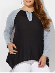 Casual Color Block Asymmetric T-Shirt - BLACK 4XL