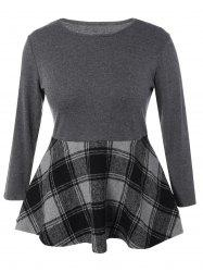 Plus Size Long Sleeve Plaid Insert Mini Dress