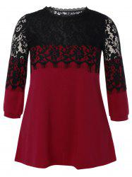 Plus Size Lace Hollow Out  Mini Dress - WINE RED 5XL