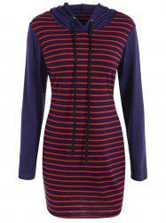 Stripe Sheath Hooded Dress -