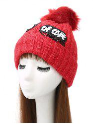 Pom Ball Chain Letter Acrylic Knit Hat -
