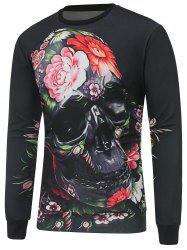 Long Sleeve Crew Neck Skull Sweatshirt