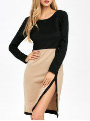 Slit Panel Long Sleeve Dress
