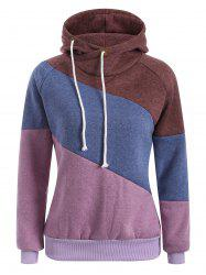 Raglan Sleeve Drawstring Color Panel Hoodie