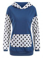 Polka Dot Panel Drop Shoulder Hoodie