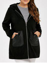 Plus Size PU Leather Trim Coat - BLACK