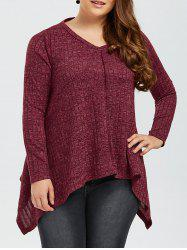 Plus Size V Neck Asymmetrical T-Shirt