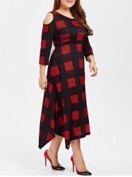 Plus Size Cold Shoulder Asymmetrical Plaid Dress