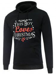 Long Sleeve Christmas Graphic Hoodie - BLACK 3XL