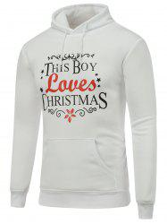 Long Sleeve Christmas Graphic Hoodie - WHITE L