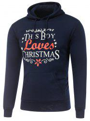 Long Sleeve Christmas Graphic Hoodie - CADETBLUE 3XL