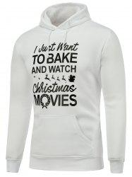Hooded Long Sleeve Christmas Graphic Hoodie - WHITE L