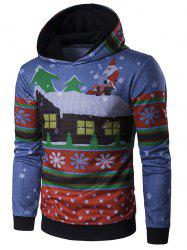 Hooded Father Christmas and House Print Hoodie -