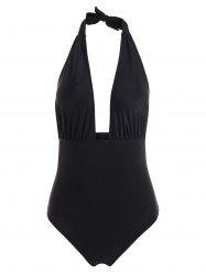 Plunge Halter Shaping One Piece Swimwear