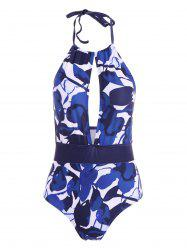 Halter Backless Printed Swimwear - BLUE XL