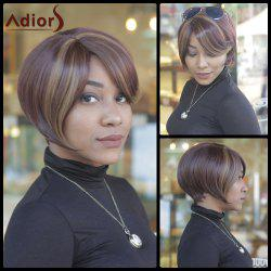 Trendy Dark Brown Highlight Synthetic Side Bang Straight Capless Women's Short Wig -