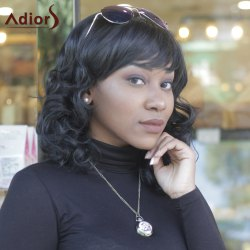 Synthetic Fashion Full Bang Curly Wigs For Women