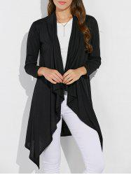 Collarless Asymmetric Duster Coat