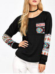 Long Sleeve Pocket Printed T-Shirt - BLACK S