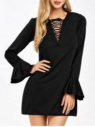 Bell Sleeve  Mini Lace Up Plunge Dress - BLACK