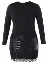 Plus Size Leather Panel Lace Trim Bodycon Dress