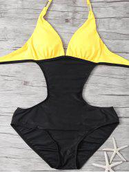 Color Insert Halter One Piece Swimwear -