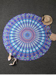 Tribal Totem Printed Round Beach Throw - PEACOCK BLUE