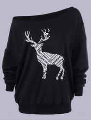 Plus Size Fawn Print Skew Collar Sweatshirt - BLACK