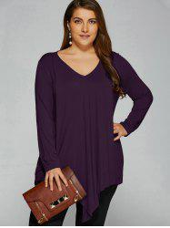 Plus Size Long Sleeve Asymmetrical T-Shirt