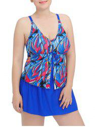 Cami Layered Printed One-Piece Swimwear - BLUE 6XL