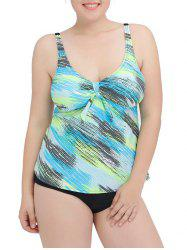 Printed Plus Size Tankini Set - LAKE BLUE 4XL