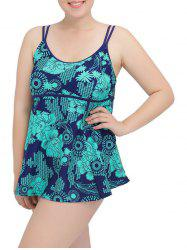 Cami Plus Size Printed Tankini Set - PURPLISH BLUE 6XL