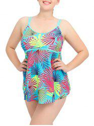 Cami Tropical Print Plus Size Tankini Set -