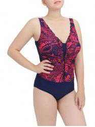 Printed Ruched One-Piece Swimwear