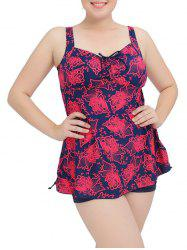 Floral Bowknot Cut Out Tankini Set
