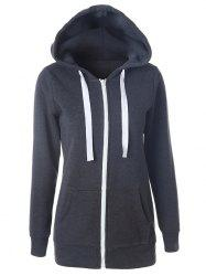 Pocket Hooded Drawstring Zipper Hoodie -