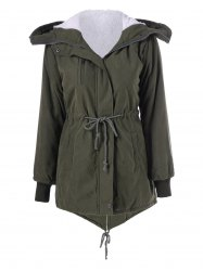 Pockets Hooded Drawstring Coat