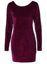 Long Sleeve Velvet Open Back Bodycon Dress - BURGUNDY XL