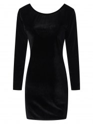 Long Sleeve Velvet Open Back Bodycon Dress