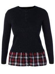 Plus Size Skinny Ribbed Sweater With Plaid Inset - BLACK