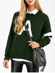 Letter A Striped Drop Shoulder Sweater -