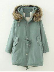 Plus Size Drawstring Parka Long Jacket