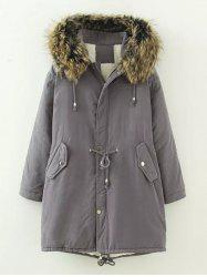 Plus Size Drawstring Parka Long Winter Jacket - GRAY