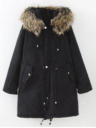 Plus Size Drawstring Parka Long Winter Jacket - BLACK