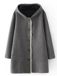Plus Size Quilted Long Jacket with Hood -