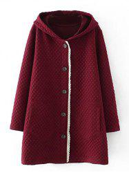 Plus Size Quilted Long Jacket with Hood - BURGUNDY